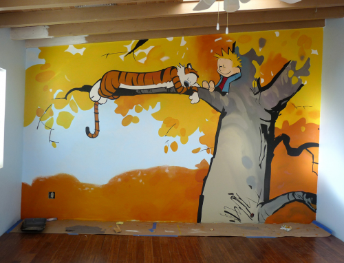 Calvin and hobbes murals nate tharp for Calvin and hobbes nursery mural